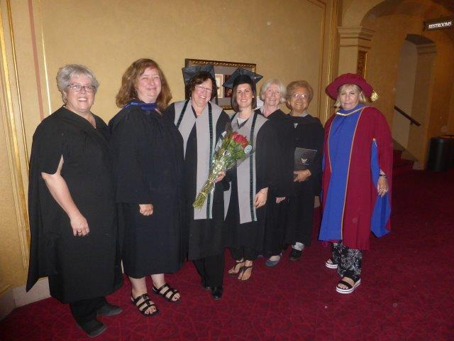 Pictured here are: Instructors: Tama and Cheryl, Graduates: Heather and Alana, Instructors: Frances and Marie, Manager of Health and Human Service: Linda.